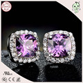 Hot Sale Top Quality Luxurious  925 Sterling Silver Mini Square Purple Stone Stud Earring