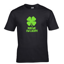 Cool Shirts Crew Neck Short-Sleeve Rub Me I'm Lucky Shamrock Lucky Four Leaf Charm St Patricks Day Premium Tee Shirts For Men
