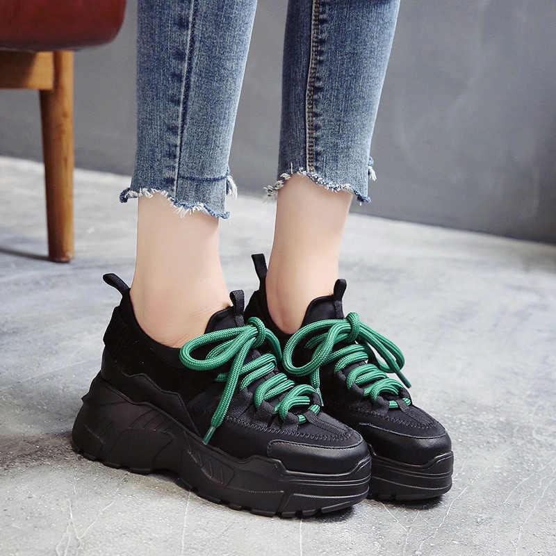 d91f97b540 ... Stylish High Platform Shoes 8CM 2019 Spring Autumn Lightweight Design  Ladies Shoes Black Casual Shoes Women ...