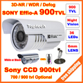 Segurança HD Sony 700tvl Effio-por Exemplo,-um 900tvl CCD menu OSD 960 H 36 leds IR 30 metros de vigilância no exterior CCTV Câmera com suporte