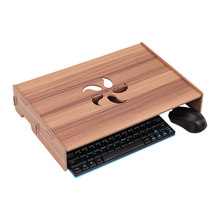 Wood Computer Monitor Stand Laptop Riser Holder Desktop Organizer with Keyboard Wiring Slot for School Office(China)