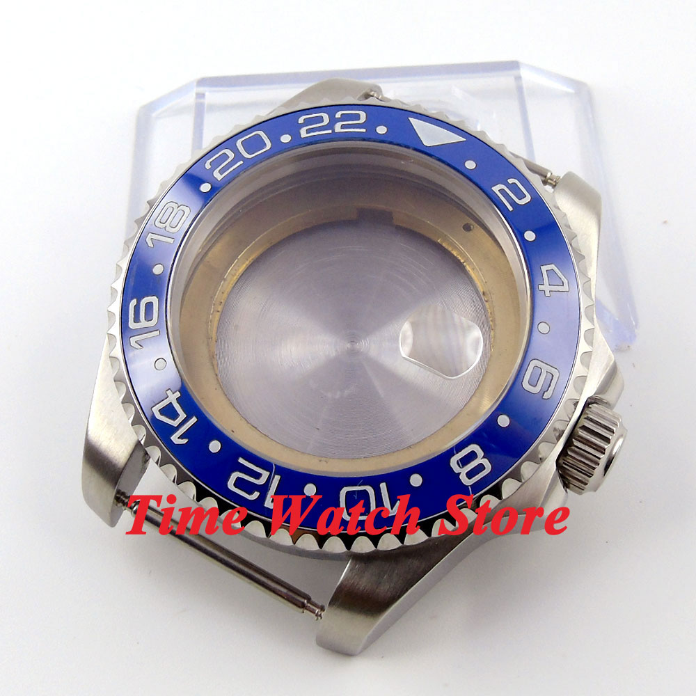 лучшая цена 43mm Sapphire glass blue ceramic bezel stainless steel Watch Case fit ETA 2824 2836 movement 52