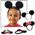 10pcs/lot Wholesale kids Minnie Mouse Ears Headband boy girl adult Black Red Pink Polka Dot Bow Party Favors Costume