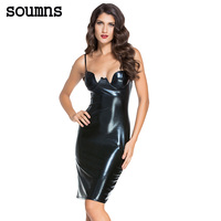 Women Sexy Club Dresses Black Red Sleeveless Spaghetti Strap Faux Leather Padded Bodycon Midi Dress LC60576