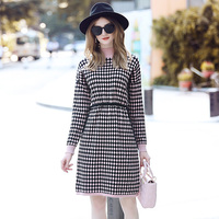 2018 new autumn wear women's clothing Temperament and a half high collar color matching ling draw string waist dress