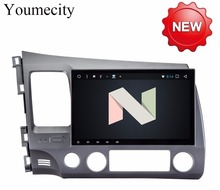 Youmecity 4G Android 7.1 2 DIN 10.1 Octa Core Car dvd Video GPS Navi For Honda Civic 2006-2011 Acura CSX Capacitive screen+wifi