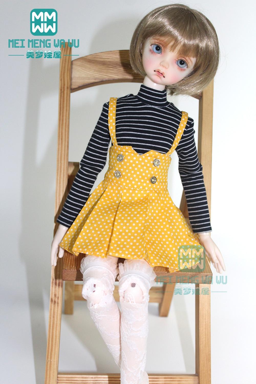 Clothes For Doll Fits 43cm 1/4 MSD BJD Doll T-shirt, Polka Dot Strap Dress