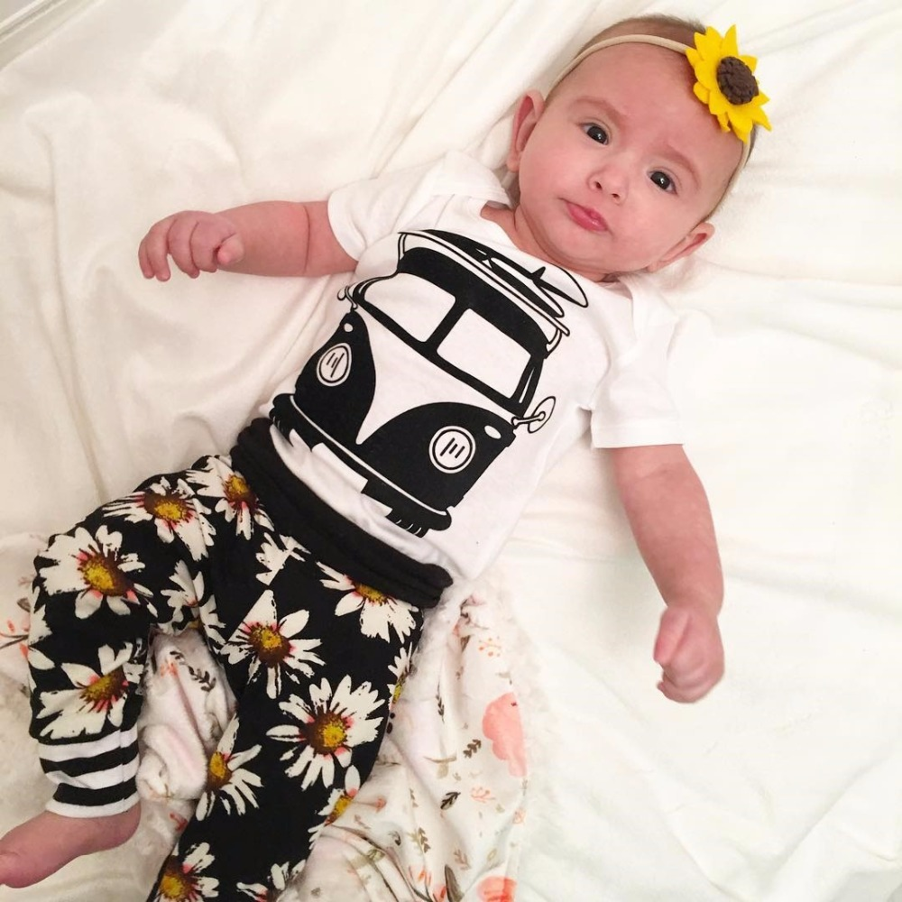743b2c99e Infant Baby Girls Clothes Suits Cartoon Car Print Tops White Romper ...