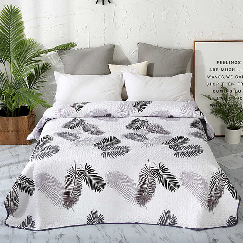 Bedding Simple Leaves Print Cotton Polyester Bedspread Coverlet/Bed Cover Quilt Coverlet Summer Blanket 15 colors available #sw
