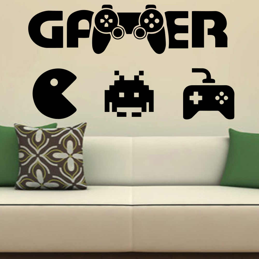 Amazing gamer wall art sticker modern wall decals quotes vinyls boys room game room decoration wallpaper