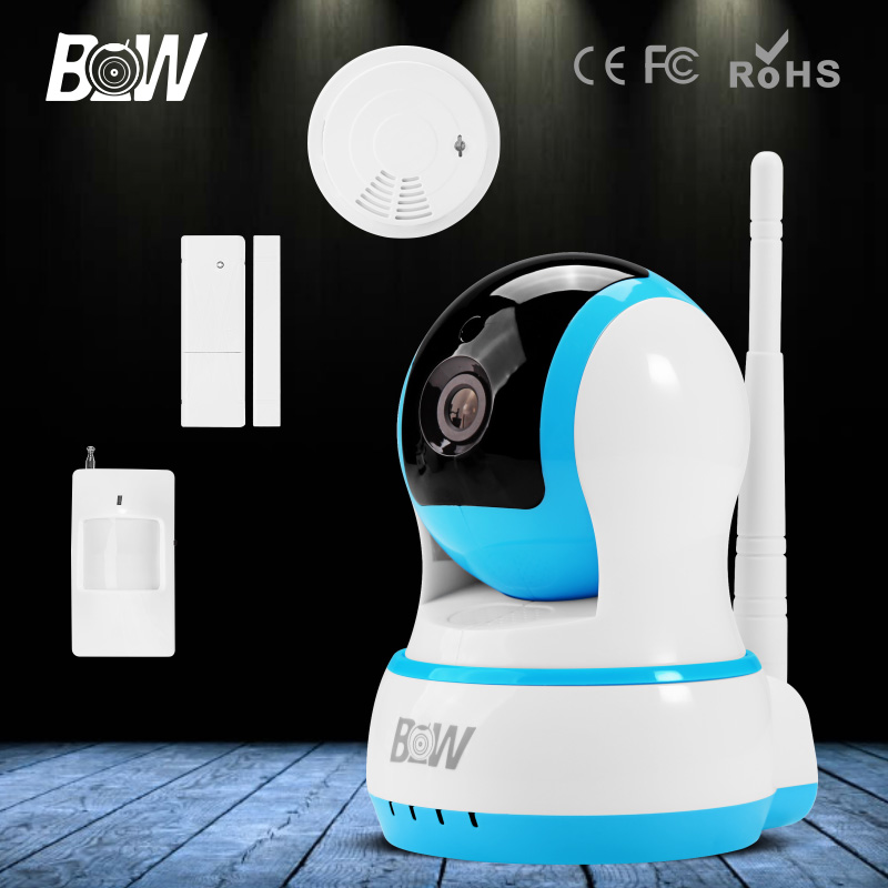 BW HD 720P Onvif IP Camera Wi-Fi Monitor Wireless Security PTZ Camera with Infrared Motion & Door Sensor Smoke Detector bw wireless wifi door