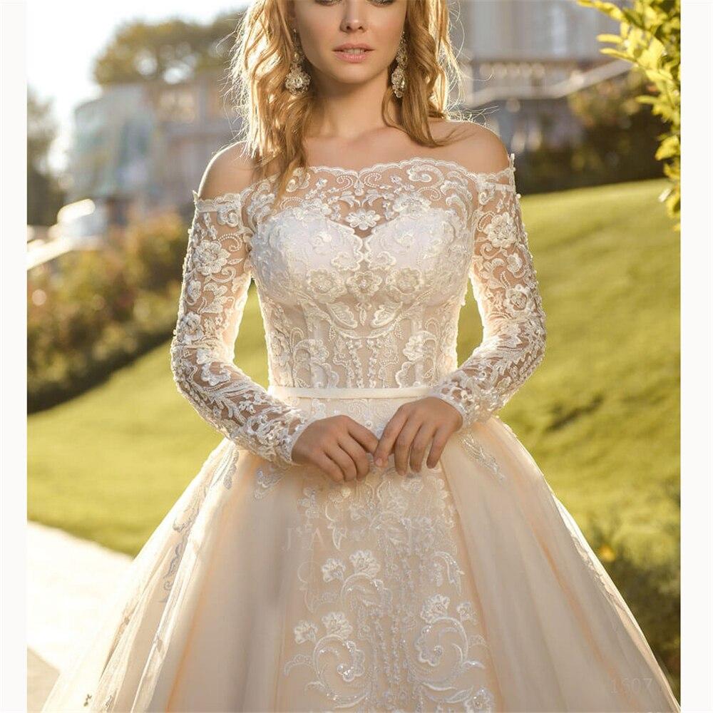 New Arrival Charming Wedding Dress 2019 Gorgeous Appliques Ball Gown Illusion Princess Long Sleeves Bridal Gown Vestido De Noiva