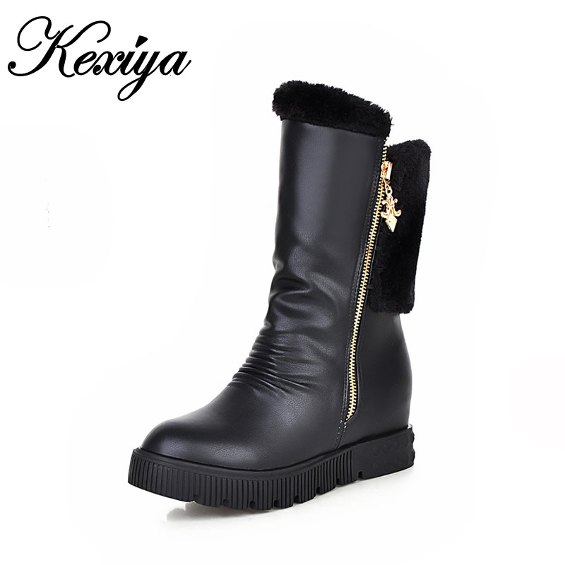 Warm winter women shoes plus size 33-45 fashion Round Toe Height Increasing silver high heels Mid-Calf snow boots zapatos mujer taoffen size 30 52 russia women round toe height increasing mid calf boots woman cross strap warm fur winter half shoes footwear