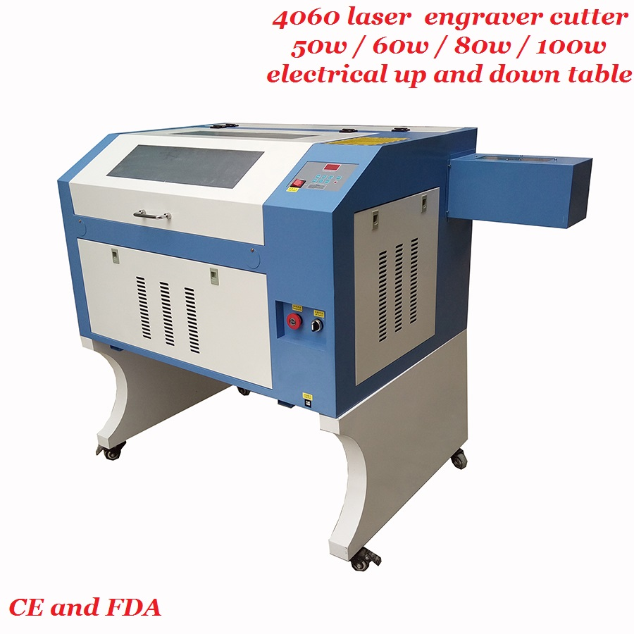 4060 Laser Engraver Cutter 50w 60w 80w 100w Free Coreldraw Software Water Cooling With Four Wheels Supporter For Wood Acrylic