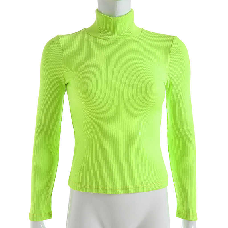 6e29f4656a6cc ... Cryptographic Ribbed long sleeve 2019 new fashion neon pink solid  turtleneck casual t-shirts pullover