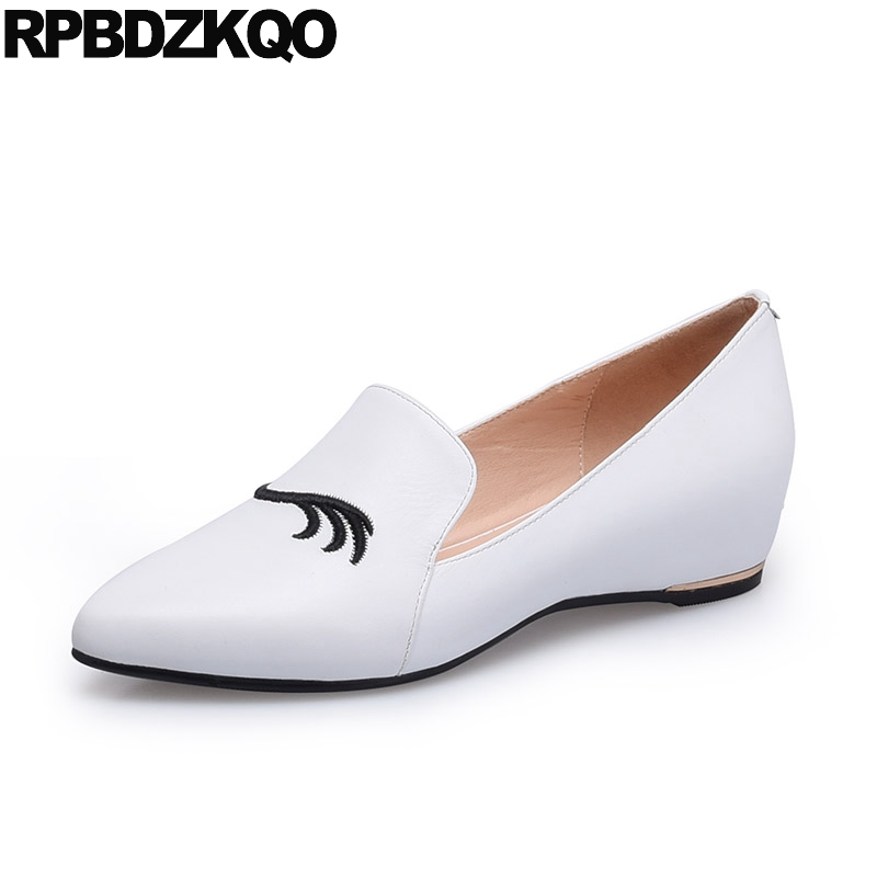 Latest Genuine Leather Pointed Toe Slip On Loafers Embroidered Eyelash Flats 2017 Ladies Comfy Women White Drop Shipping women ladies flats vintage pu leather loafers pointed toe silver metal design