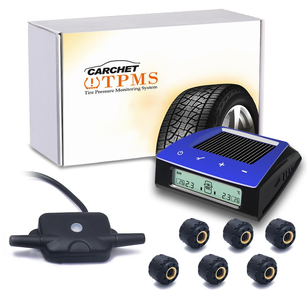 RV Trailer Car Solar TPMS Tire Pressure Monitoring System 6 Sensor LCD Display