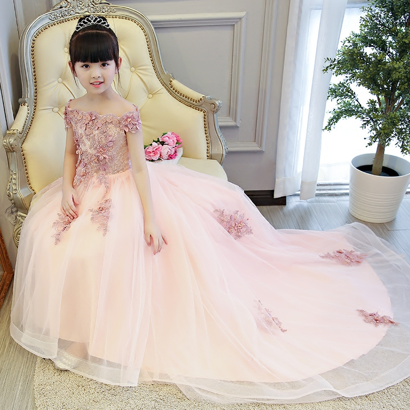 2018 Royal Princess Shoulderless Flower Ball Gown Dress Long Tailing Sweet Luxury Backless Kids Pageant For Birtyday party Dress 2018 royal princess shoulderless flower ball gown dress long tailing sweet luxury backless kids pageant for birtyday party dress