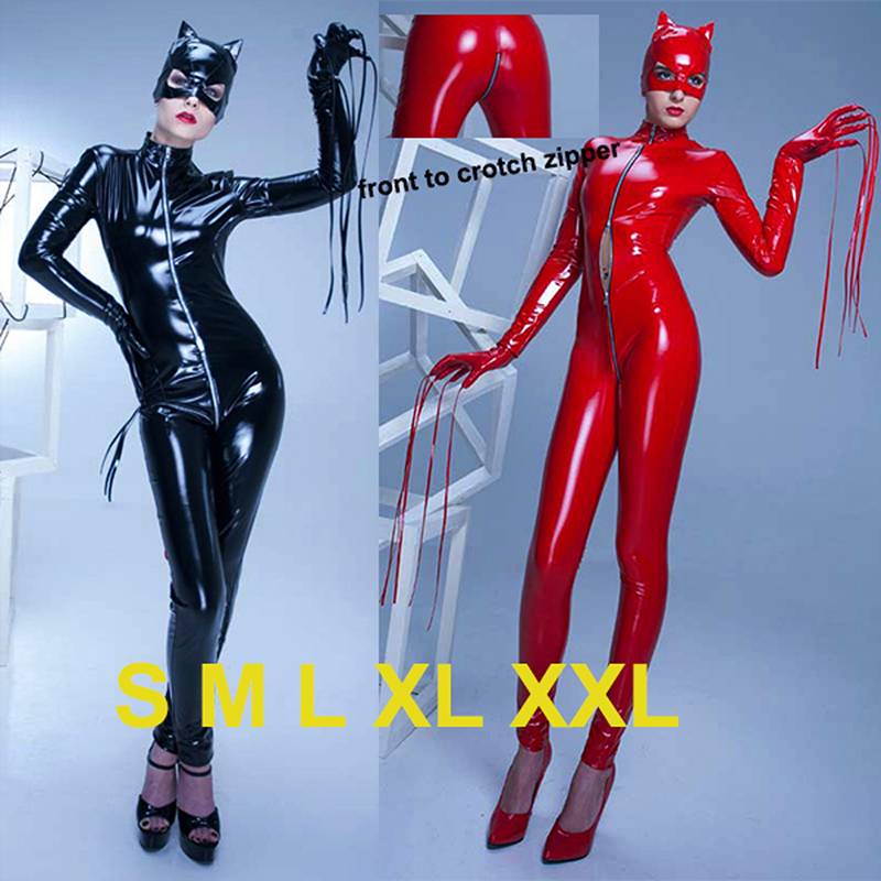 Womens Red Latex Catsuit Sexy Stretch PU Leather Jumpsuit PVC Crotch Zipper Clothes Black Catwoman Bodysuit With Cat Mask 2016