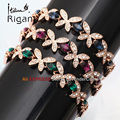 "A1-A012 Italina Rigant Fashion Flower 0.4"" Width Chain Bracelet Bangle CZ 18KGP Jewelry"