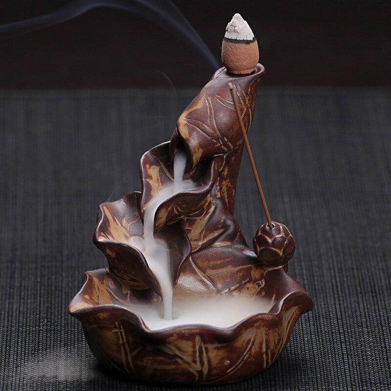 Conos de incienso o quemador cerámica china artesanía creativa Decoración para el hogar Lotus Pond Smoke backflow incienso Palos quemador censer