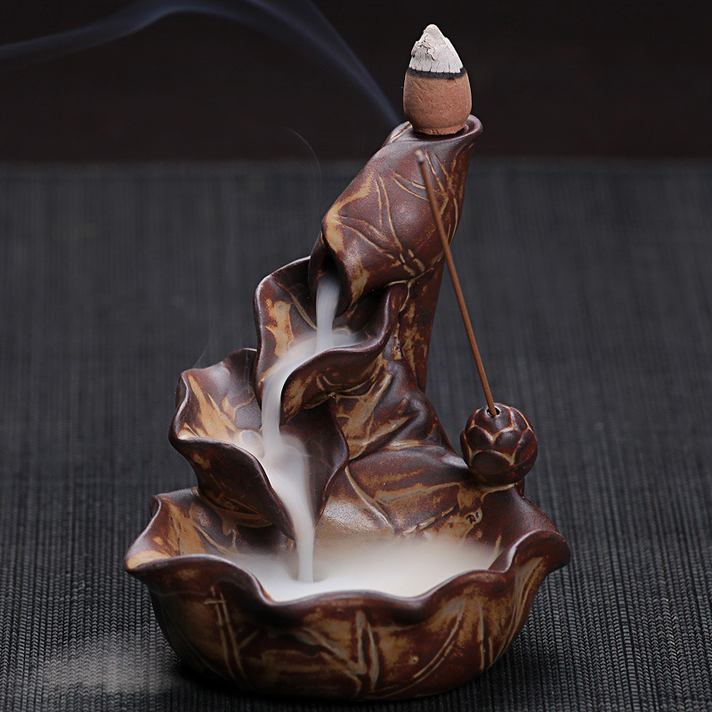 Incenso coni o bruciatore cinese artigianato della ceramica creativa complementi arredo casa lotus pond fumo riflusso incenso spiedi burner censer