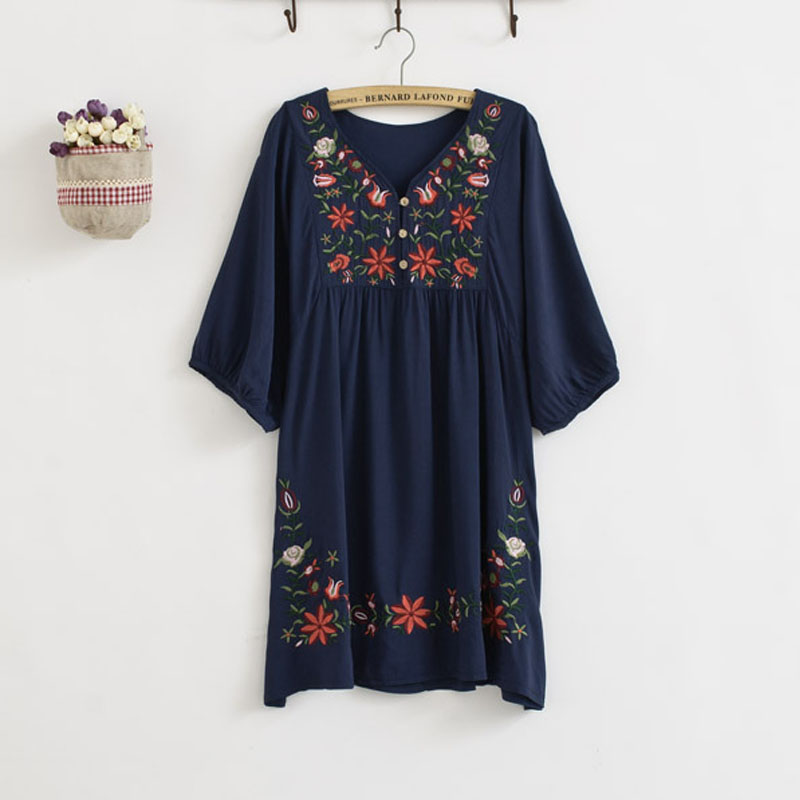 Embroidery Cotton Maternity Shirts Blouses Clothes For Pregn