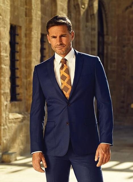 Two piece suit the dress blue men's suit Lapel wedding suit men slimming two button jacket + pants