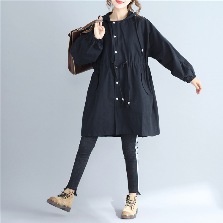 High Quitly Trench Coat For Women Plus Size Womens Long Windbreaker Spring Autumn Female Loose Cartoon Embroidery Hooded Coat
