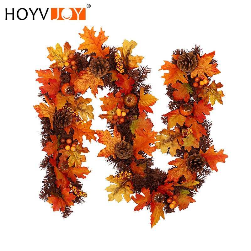 HOYVJOY automne érable pin cônes décoration rotin artificiel plante maison bureau center commercial Halloween Thanksgiving décoration