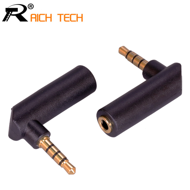 1pc Gold Jack 3.5mm 4 Pole 90Degree Right Angle Female To 3.5mm 4Pole Male Audio Stereo Plug L Shape Jack Adapter Connector