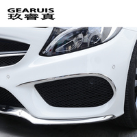 For Mercedes Benz C Class W205 Car Styling Front Fog Lamps Cover Grille Slats Lights Sticker