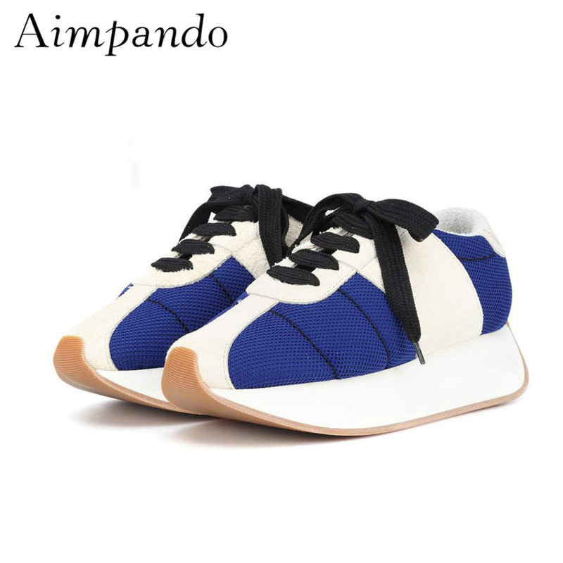 Newest 2019 Breathable Mesh Air Sneakers Thick Bottom Heel Round Toe Patchwork Cross tied Walking Shoes