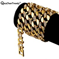 Hip Hop Men's Bling Iced Out Rhinestone Link Chain Necklaces Luxury Goldend Men Tennis Cuban Chain Rapper Jewelry Drop shipping