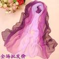 Mulheres Primavera e No Outono quente macio 100% sentimento de Seda Mistura Ombre georgette Oblongo Scarf shawl designer venda quente