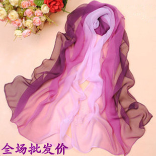 Women Spring and Autumn warm soft 100% Silk feeling Blend Ombre Oblong georgette  Scarf designer shawl hot sale