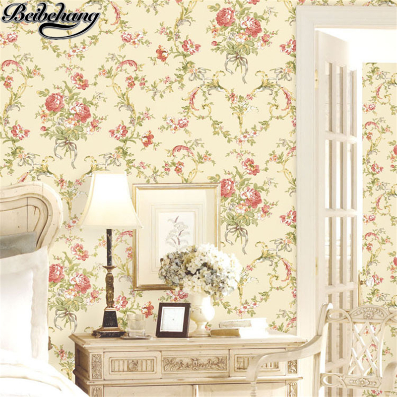 beibehang Beautiful home furnishings pastoral nonwovens wallpaper bedroom living room background wallpapers papel de parede the 100% import home furnishings