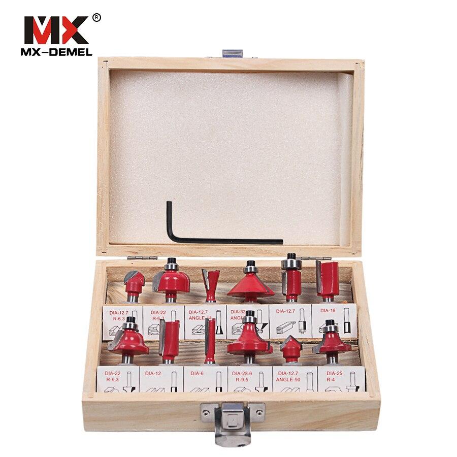 MX-DEMEL 12 pz Fresa 8mm Router Bit Set di Legno Taglierina Codolo cilindrico Da Taglio In Metallo Duro Fresa Strumenti di fresatura di Aneto bit