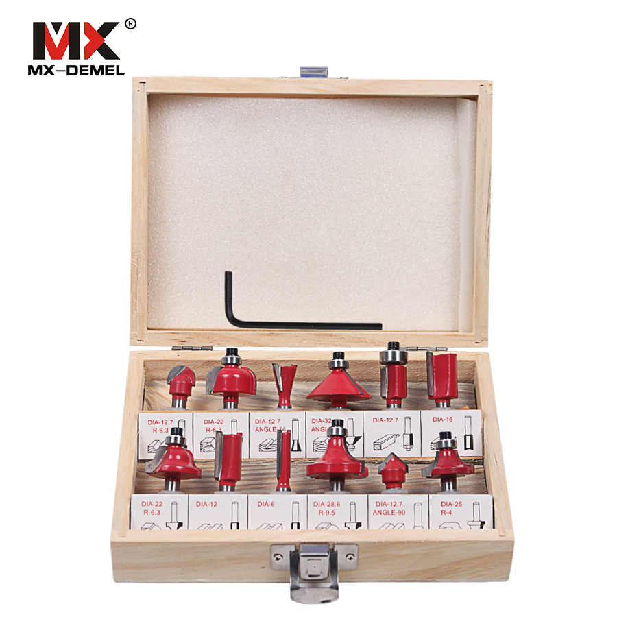 MX DEMEL 12Pcs Milling Cutter 8mm Router Bit Set Wood Cutter Straight Shank Carbide Cutting Tools