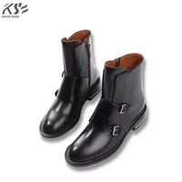 genunie cow leather boots women luxury designer short ankle female vivets fashion autumn black low heel boots
