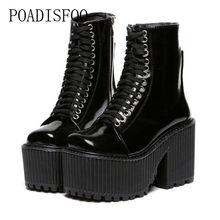 e6da1dd3467 POADISFOO Women s Sexy Platform Square Heels Black White Boots 10cm heel  5.5cm platform Punk Night Club Boots Women .JXQ-4369