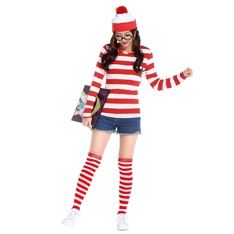 Halloween women costumes Where's Wally anime costume for female T-shirt+ Hat+ Without lenses+socks  4pcs one set cosplay