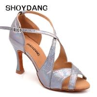 SHOYDANC Classic Style Dance Shoes latin Women Salsa Dance Shoes dames schoenen Snake Texture Color Changing PU Silver Gold Red