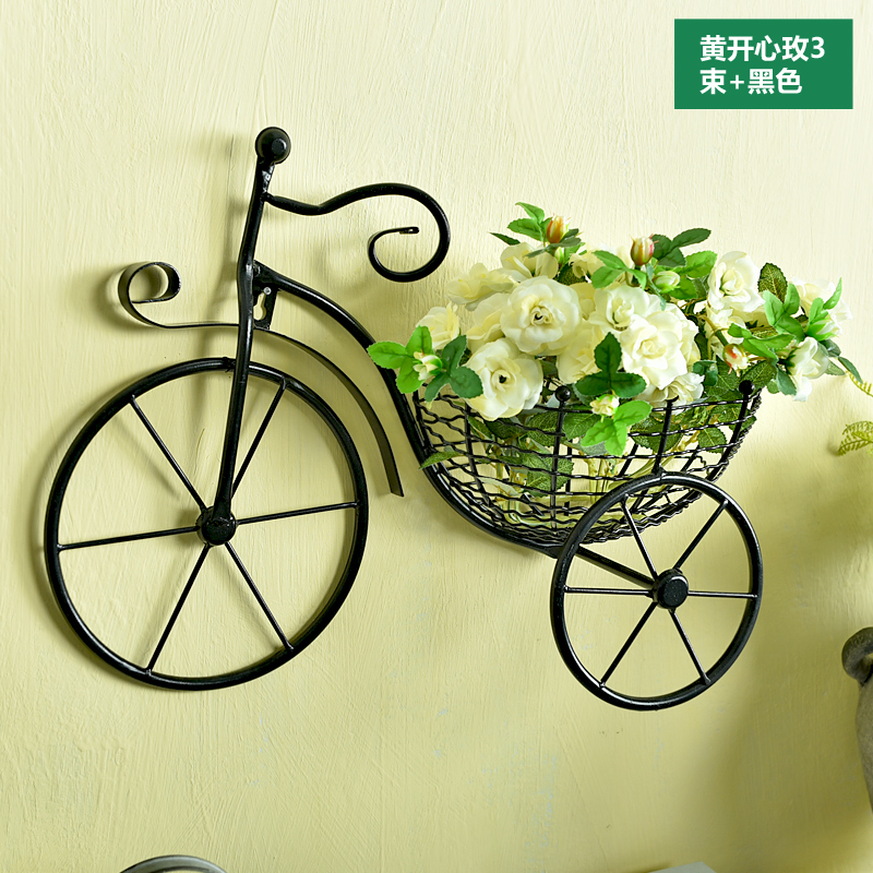 Bike Flower Basket Vase Art On the Wall Metal Hanging Decoration ...