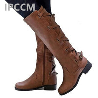 IPCCM Woman Platform Winter Women's Shoes Fashion Boot female 2018 Large Sizes 34 43 Sexy Flat Shoes Knee High Boots
