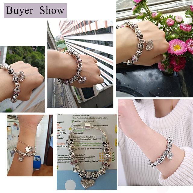 ELESHE Luxury Brand Women Bracelet 925 Unique Silver Crystal Charm Bracelet for Women DIY Beads Bracelets & Bangles Jewelry Gift 1