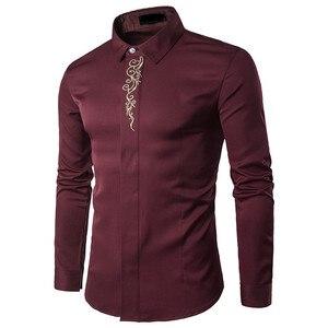 Image 3 - Мужские рубашки VISADA JAUNA, повседневные рубашки в стиле смарт кэжуал с разноцветным базовым принтом и вышивкой, весна осень 2018