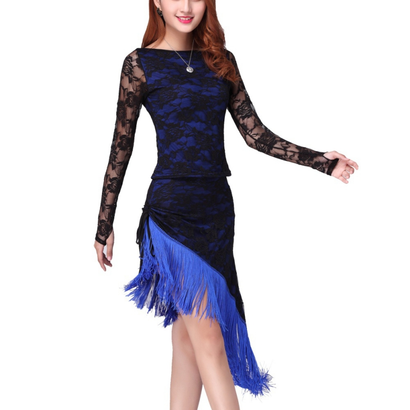 Latin Dresses Solid Women Dance Dress Sexy Tassel Tango Ballroom Costumes Lace Dress Dancewear