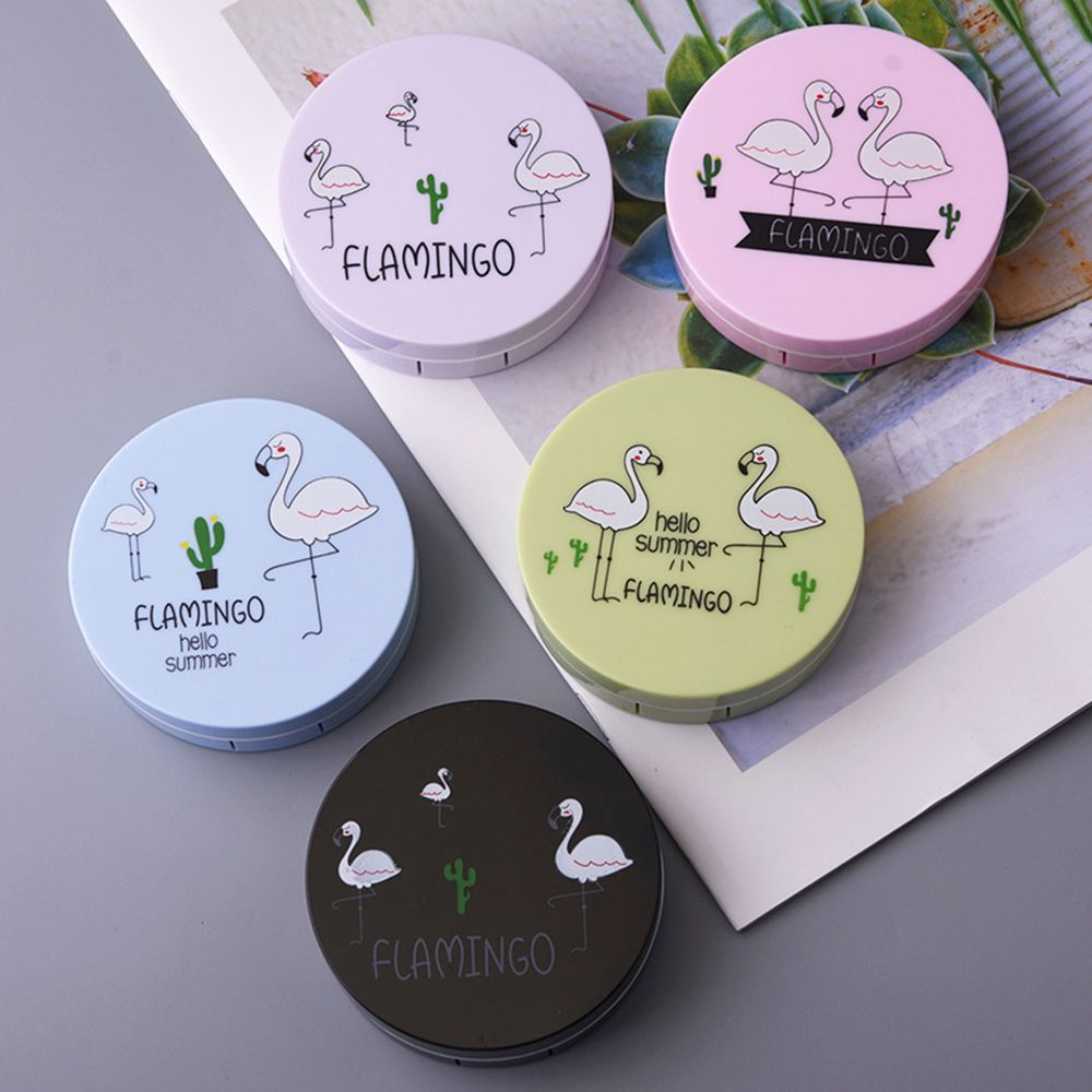1PC Colored Flamingo Contact Lenses Case For Eyes Cute Lens Container Travel Mirror Eyewear Cases Kit Random Color 7.4*6.4*2.2cm