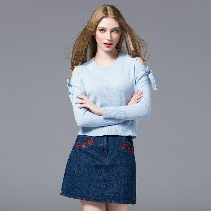 2018 Euro Style Nouveau Style Pur Couleur Arc-noeud Tous Assortie Jersey Col Rond Épaule Nue Manches Femmes Pull tricoté Chandail